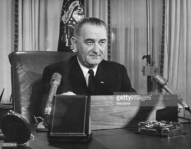 American President Lyndon Baines Johnson addresses the nation on his first thanksgiving day television programme, broadcast from the executive...