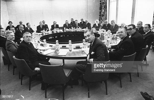 The newly-constituted National Economic Development Council at a board meeting in the Vickers Building, Millbank, London.