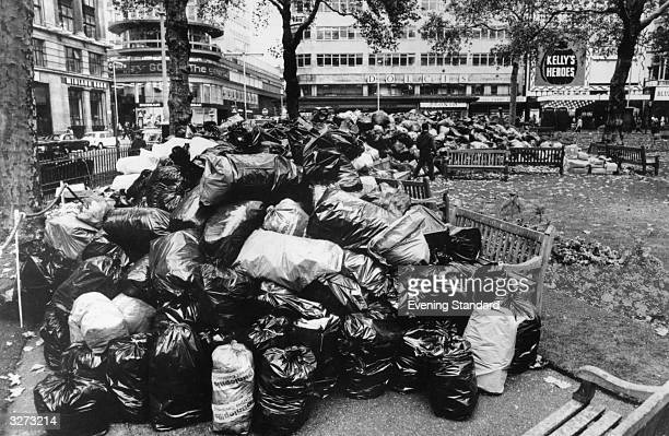 Rubbish piled up in a Leicester Square during the dustmens strike