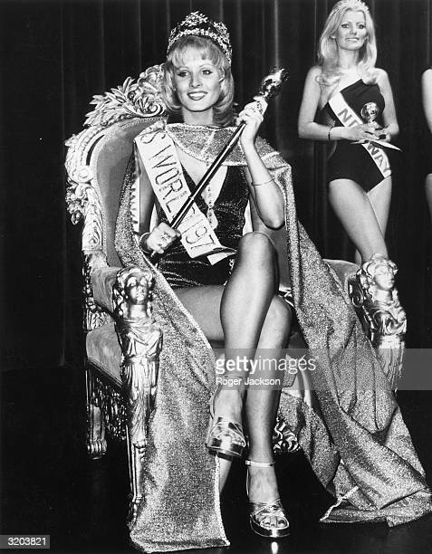 Belinda Green of Australia is crowned Miss World 1972 at the Royal Albert Hall, London. Ingeborg Sorensen of Norway, the runner-up, stands in the...