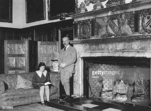 British Prime Minister James Ramsay MacDonald on his first visit to Chequers, the ministerial country home in Buckinghamshire. Wearing the typical...
