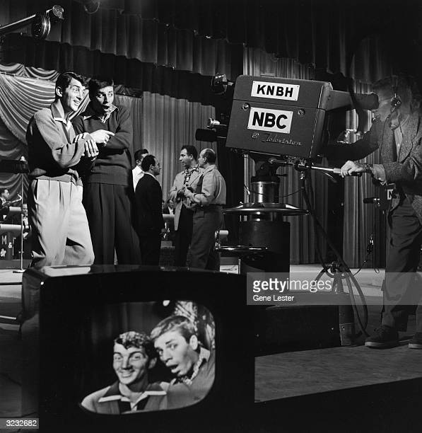 EXCLUSIVE American comic team Jerry Lewis and Dean Martin performing for the camera on the set of the television show 'Hollywood vs TV' A group of...