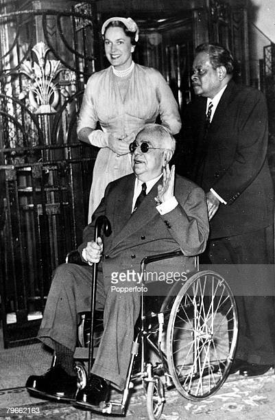 2nd February 1955 The convalescent Aga Khan is wheeled into the reception lounge of the luxurious Semiramis hotel in Cairo where he received...