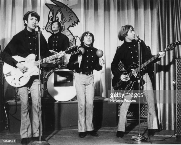 American pop group The Monkees Left to right are Mike Nesmith Micky Dolenz Davy Jones and Peter Tork