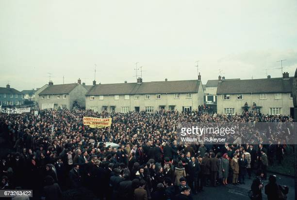 2nd February 1972 Thousands march with the Northern Irish Civil Rights Assn in Newry during a civilian protest organised in response to the shooting...