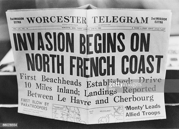 A '2nd Invasion Extra' edition of the Worcester Telegram newspaper published in Worcester Massachusetts reporting the Allied invasion of Normandy on...