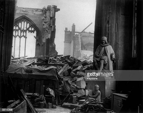 The ruins of Manchester Cathedral after a German bombing raid