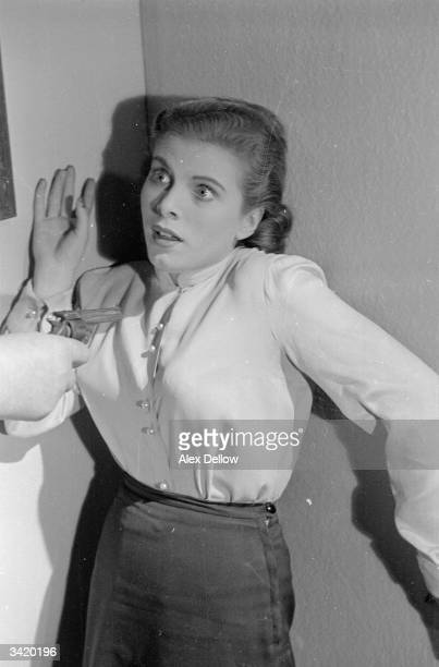 British actress Billie Whitelaw has an anxious moment in a television drama Original Publication Picture Post 6849 The Queen's Champions pub 1954