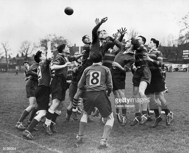 A line out during the annual rugby match between the English and Scottish schoolboys at Richmond
