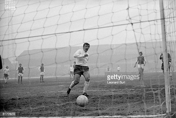 Spurs skipper Alan Mullery scoring his team's third goal following a penalty kick in the third round FA Cup match against Sheffield Wednesday at...
