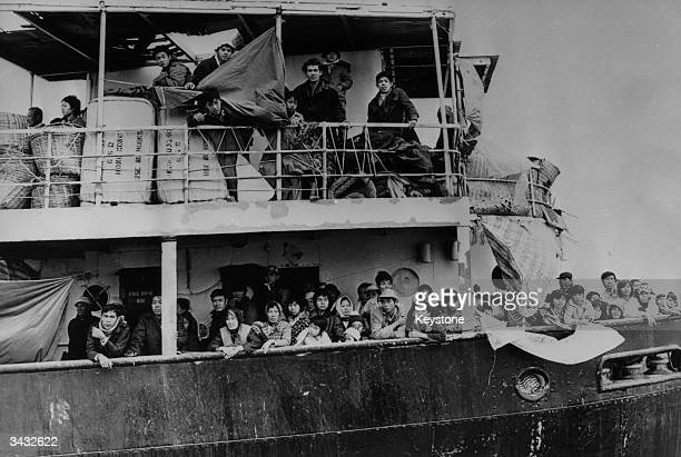 Vietnamese refugees on board a freighter in Hong Kong waters after the Hong Kong government refused them permission to land.