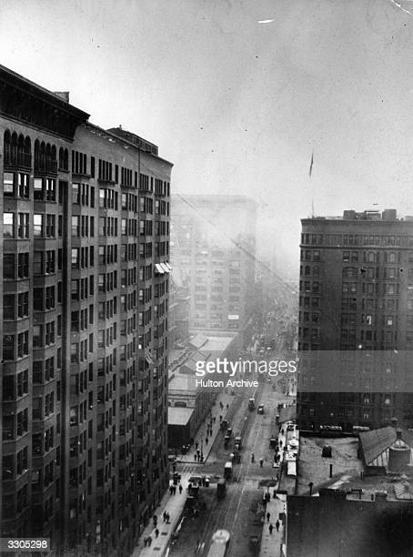A view from the ninth storey of the Old Colony Building in Chicago showing a high rise block on the left