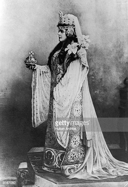 American heiress Jennie Jerome mother of Winston Churchill in costume as the Empress Theodora for a fancy dress ball at Devonshire House in London