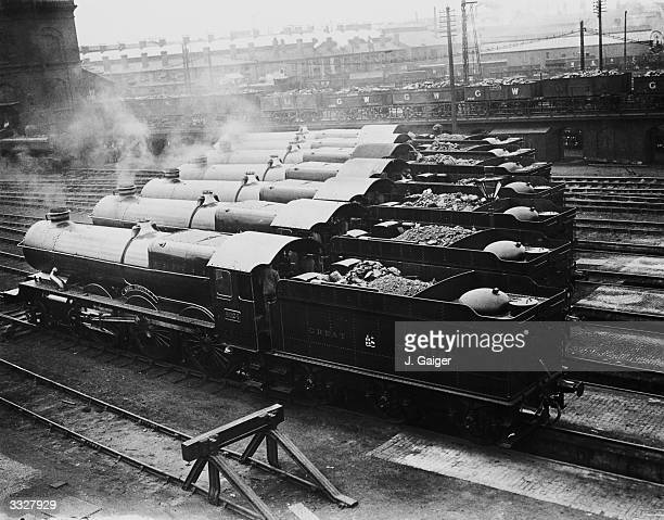 New 'King' class locomotives belonging to the Great Western Railway leaving their running sheds in Swindon Wiltshire