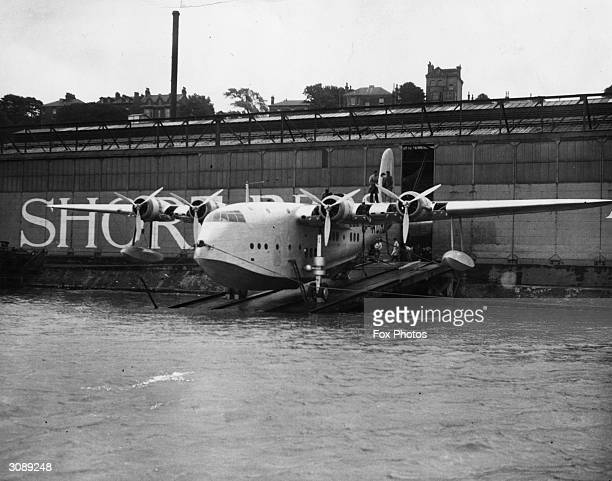 The Imperial Airways Plane 'Canopus' at Short's plant in Rochester Kent Short's flying boats made in Belfast were at the cutting edge of civil...