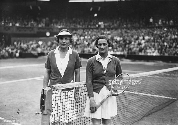 American tennis players Helen Wills Moody and Helen Jacobs before the start of their singles final at the All England Lawn Tennis Championship...