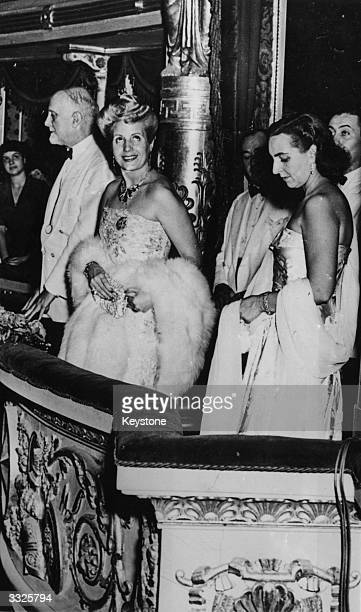 Eva Peron , wife of the Argentine president General Juan Peron, attending the opera at the Scala Theatre during a visit to Milan.