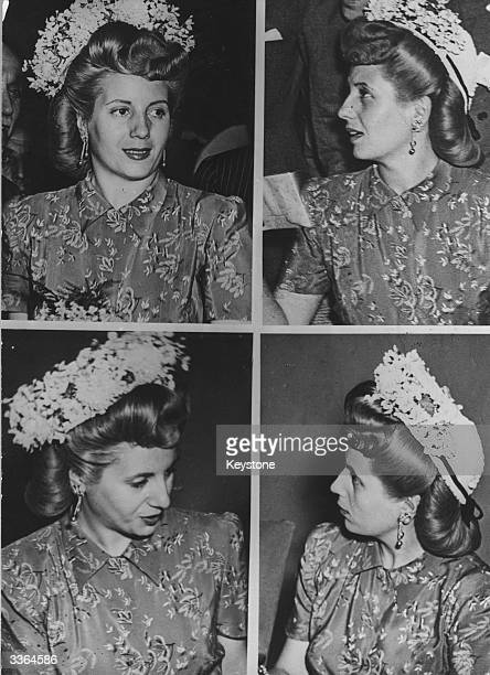 Four views of Eva Peron former actress and wife of Argentinian premier Juan Peron during a visit to Milan