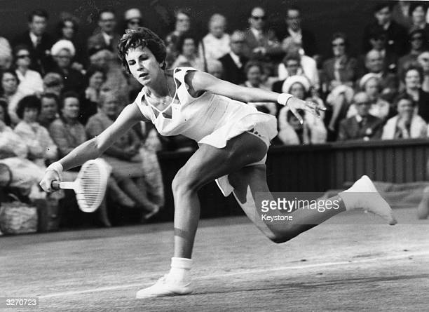 Maria Bueno of Brazil in action against Billie Jean Moffitt of the USA at Wimbledon
