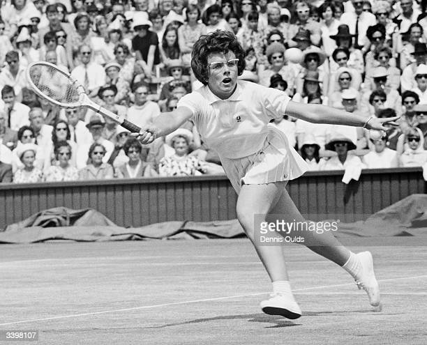 American tennis player Billie Jean Moffitt in action during a semi final in the women's singles championship at Wimbledon.