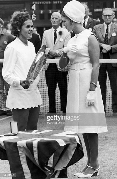 Princess Alexandra presenting the Women's Singles trophy to Australia's Evonne Goolagong after her win at the Wimbledon Lawn Tennis Championships