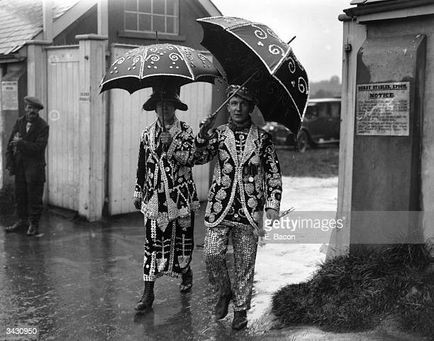 The Pearly King and Queen arriving at Epsom for the Derby.