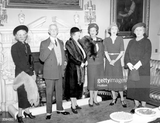 Lady Diana Cooper the wife of Sir Alfred Cooper giving a sherry party at Admiralty House for the committee on the Waifs and Strays Ball to be held at...