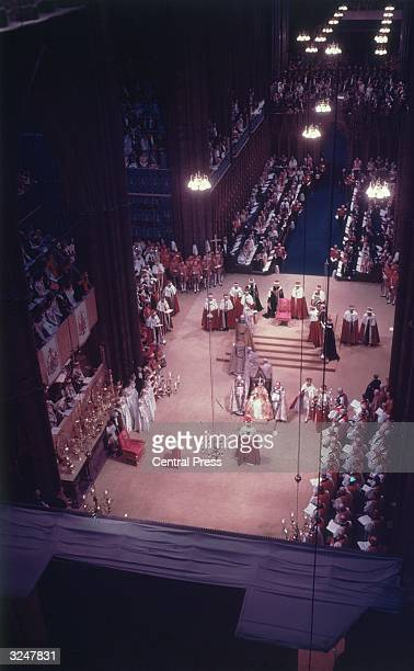 View from the rafters of Westminster Abbey during Queen Elizabeth II's coronation ceremony.