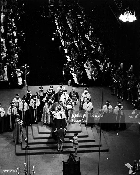 2nd June 1953, London, England, The Coronation of Queen Elizabeth II, Coronation Service Scenes in Westminster Abbey, The Homage, The young Duke of...