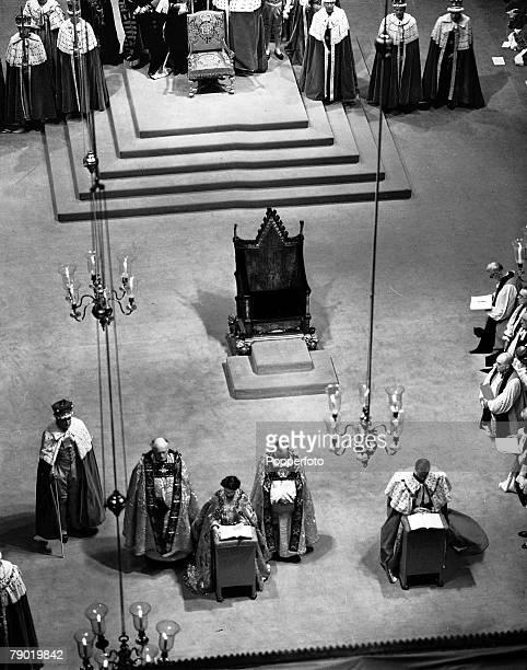 2nd June 1953 London England The Coronation of Queen Elizabeth II Coronation Service Scenes in Westminster Abbey Queen Elizabeth II and the Duke of...