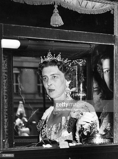 Marina, Duchess of Kent leaving Buckingham Palace in her coach, bound for Westminster Abbey for the Coronation of Queen Elizabeth II.