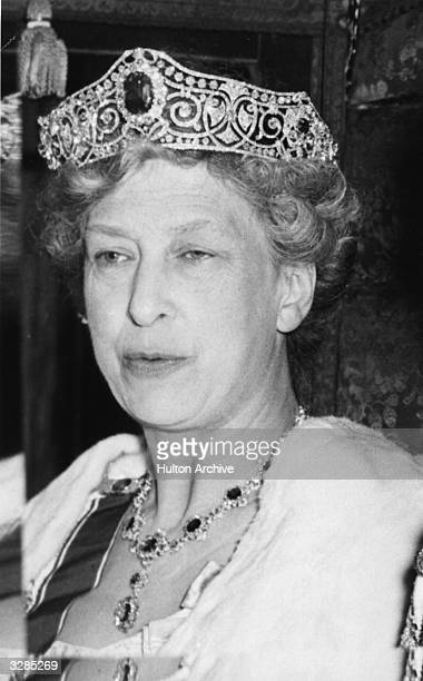 Mary Harewood Countess of Harewood and only daughter of George leaving Westminster Abbey following the coronation of Queen Elizabeth II