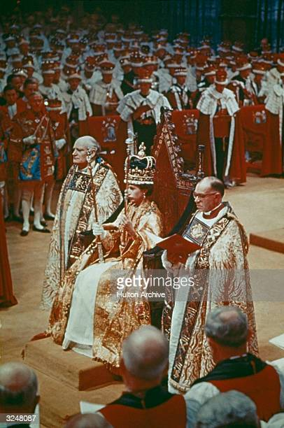 Queen Elizabeth II at her coronation ceremony in Westminster Abbey, London.