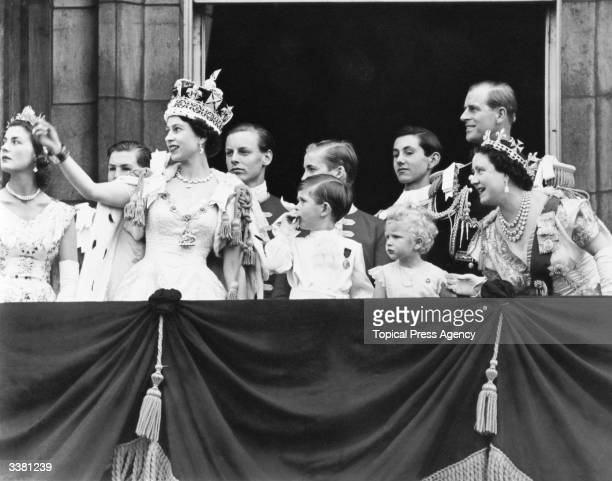 Queen Elizabeth II with Charles Prince of Wales Anne the Princess Royal Prince Philip the Duke of Edinburgh and the Queen Elizabeth the Queen Mother...