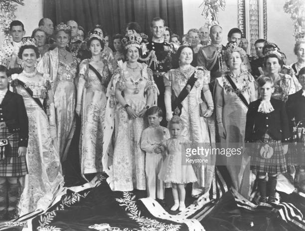 The royal group in the throne room of Buckingham Palace in honour of the Coronation of Queen Elizabeth II including the Duke of Edinburgh Prince...