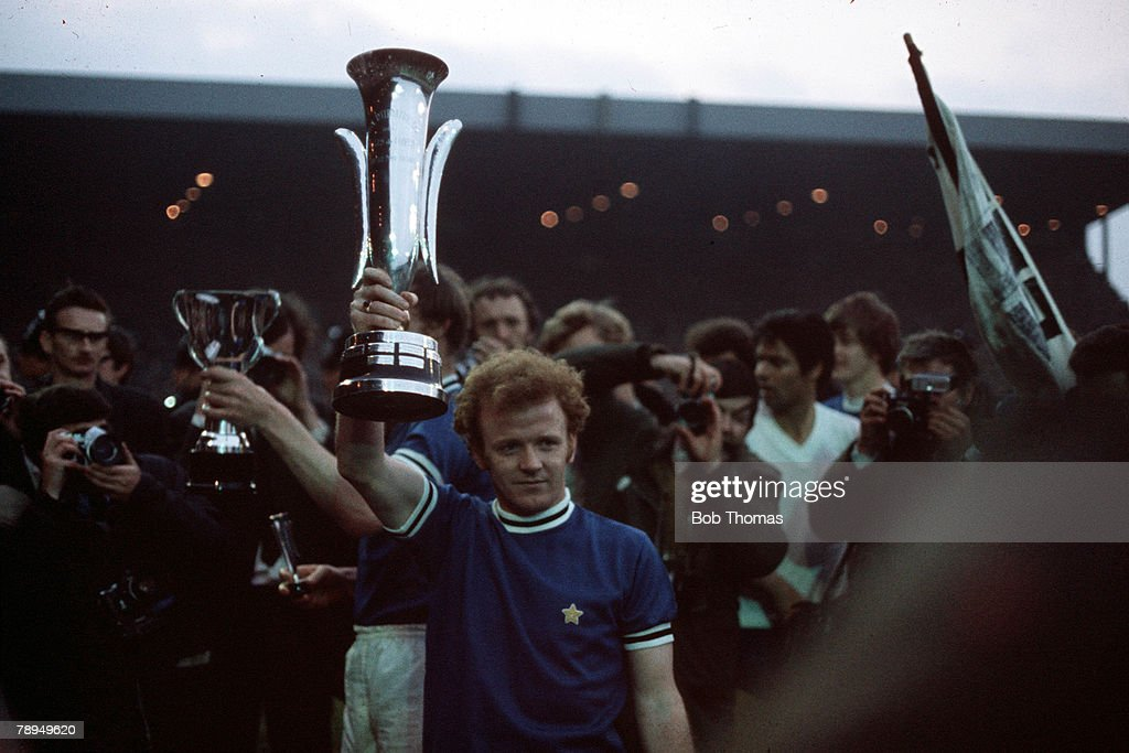 2nd June 1971. UEFA Inter City Fairs Cup Final, Second Leg. Elland Road, Leeds. Leeds United 1 v Juventus 1. (Leeds win on away goals following a 2-2 draw in the First Leg). Leeds United captain Billy Bremner poses with the trophy. : News Photo