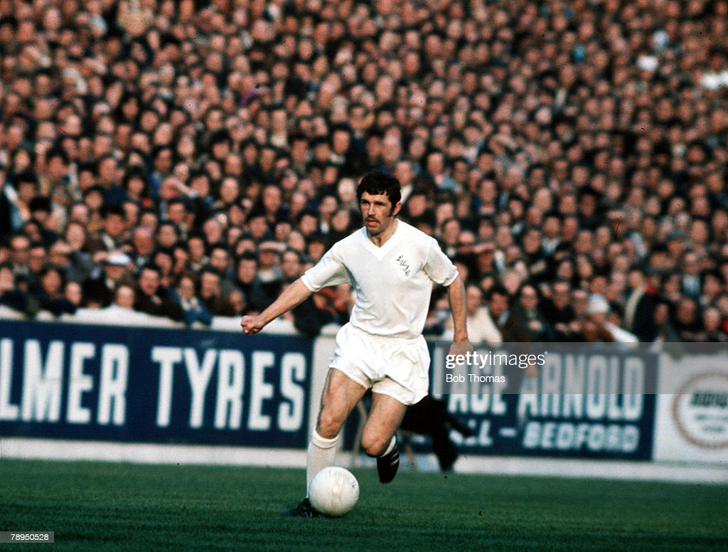 2nd June 1971. UEFA Inter City Fairs Cup Final, Second Leg. Elland Road, Leeds. Leeds United 1 v Juventus 1. (Leeds win on away goals following a 2-2 draw in the First Leg). Leeds United's Johnny Giles runs with the ball. : News Photo