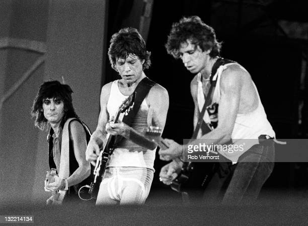 The Rolling Stones perform live on stage at the Feyenoord Stadium in Rotterdam Netherlands during their European tour on 2nd June 1982 Left to Right...