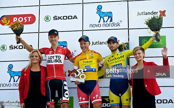 2nd Lars Ytting Bak of Lotto Belisol 1st Michael Valgren Andersen of Tinkoff Saxo and 3rd Manuele Boaro of Tinkoff Saxo on the podium receiving their...