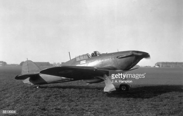 A Hawker Hurricane fighter aeroplane seen here at Northolt aerodrome