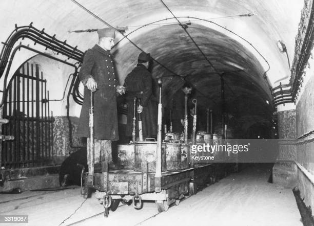 The underground rail system used to transport people and supplies along the Maginot Line a fortification build along the FrancoGerman border