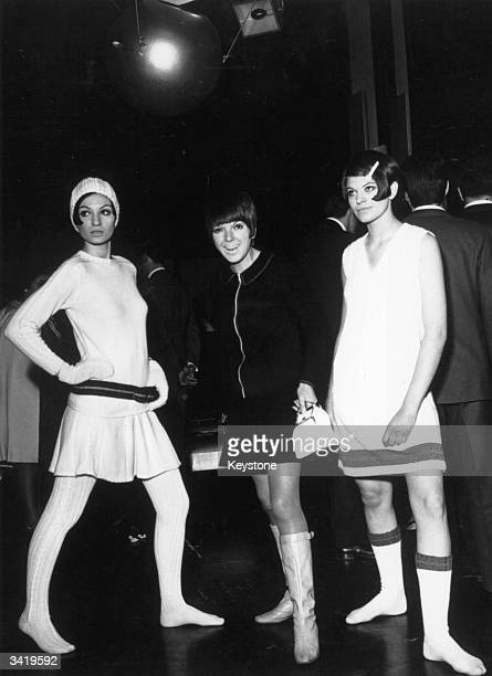 Women modelling the 'Viva Viva' collection of handknits made of the Courtauld's new fibre 3H from English designer Mary Quant at a fashion show at...