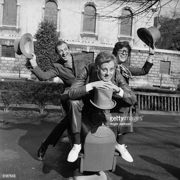 British entertainers Danny La Rue poses with Roy Hudd and Lionel Blair to promote a new show entitled 'At The Palace' opening at the Palace Theatre...