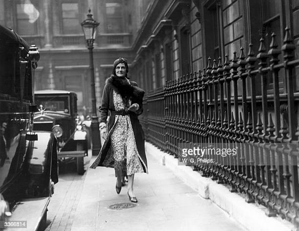 Lady Clementine Churchill wife of Winston Churchill outside the Royal Academy Piccadilly London