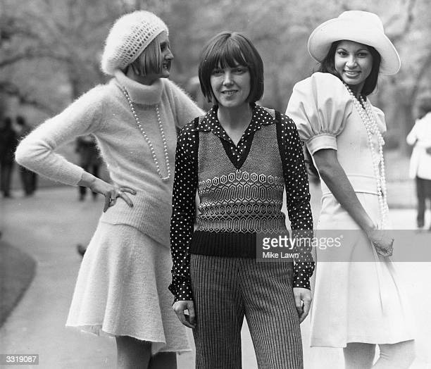 English fashion designer Mary Quant at the launch of her Ginger Group and knitwear collections for the autumn at the Savoy Hotel London Model Lorain...