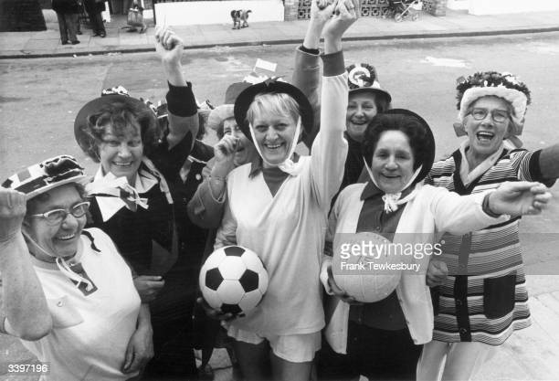 Residents of Orbain Road Fulham London showing the support they'll give Fulham Football Club when they play West Ham United in the FA Cup Final at...