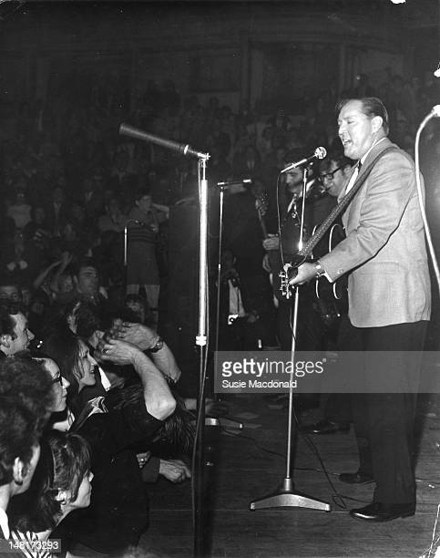 American musician Bill Haley performs live on stage at the Royal Albert Hall in London on 2nd May 1968