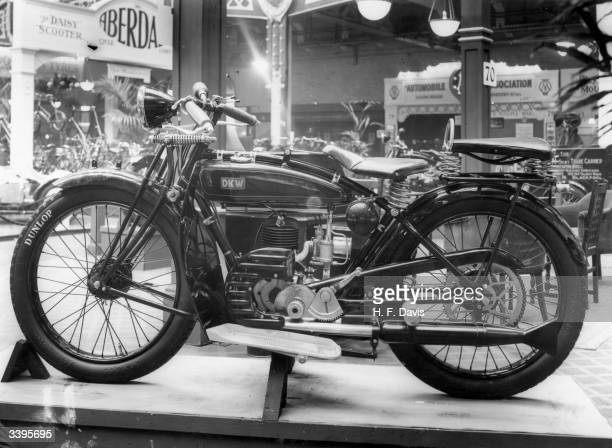 A DKW E250 motorcycle on the German stand Zichopauer Motorenwerke JS Ramsmussen at the Motor Cycle Show at Olympia in London
