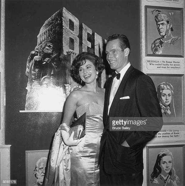 Israeli actor Haya Harareet and American actor Charlton Heston attend the premiere of director William Wyler's film 'Ben Hur' in which they both...