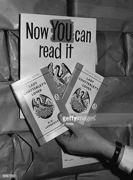 Two copies of 'Lady Chatterley's Lover', ruled not obscene by a jury at the Old Bailey, ready for circulation at the headquarters of the Penguin Book...